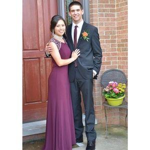 Elegant wine colored prom dress